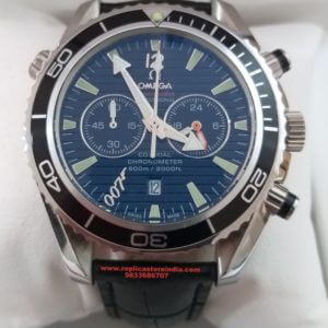 Omega Quantum Of Solace Seamaster Planet Ocean Chronograph Black Leather Strap Men's Watch