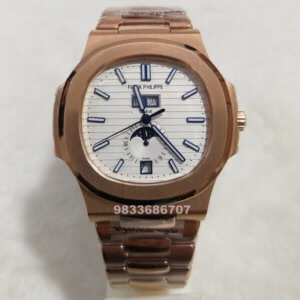 Patek Philippe Nautilus Annual Calendar Rose Gold White Dial Swiss Automatic Watch
