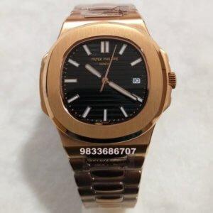 Patek Philippe Natilus Automatic Rose Gold Black Men's Watch