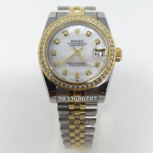 Rolex Date-Just Diamond Marker Mother Of Pearl Automatic Womens Watch