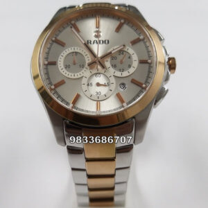 Rado Hyperchrome Dual Tone White Dial Chronograph Men's Watch
