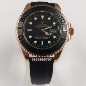 Rolex Yacht-Master Rose Gold Rubber Strap Automatic Men's Watch