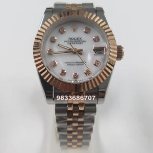 Rolex Date-Just Diamond Marker Dual Tone White Dial Automatic Women's Watch