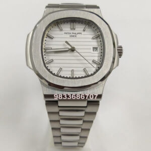 Patek Phillippe Nautilus Steel White Dial Swiss Automatic Watch