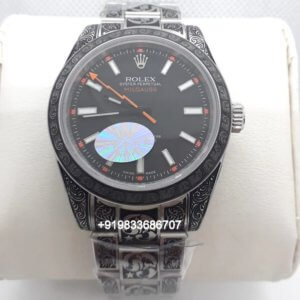 Rolex Milgauss Hand Engraved Black Dial Swiss Automatic Watch