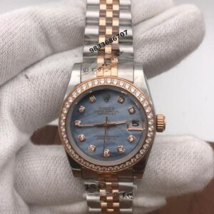 Rolex Date-Just Diamond Marker Mother Of Pearl Blue Dial Automatic Women's Watch