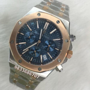 Audemars Piguet Chronometer Rose Gold Blue Dial Dual Tone Men's Watch