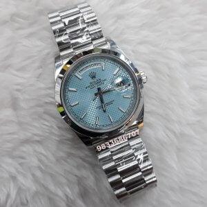 Rolex Day-Date Steel Ice Blue Swiss ETA 7750 Valjoux Movement Automatic Watch