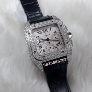 Cartier Santos 100 White Diamond Swiss ETA Valjoux 7750 Silver Automatic Movement Watch
