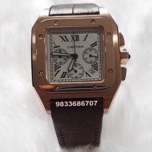 Cartier Santos 100 Chronograph Rose Gold Leather Strap Men's Watch