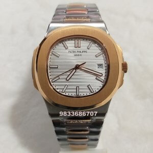 Patek Philippe Nautilus Silver Leather Strap Swiss Automatic Watch