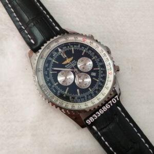 Breitling Navitimer Chronograph Black Leather Strap Men's Watch