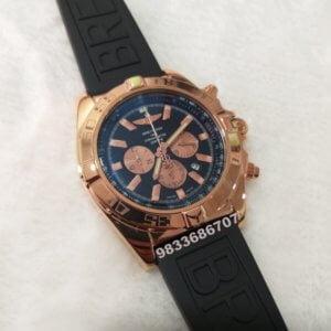 Breitling Chronometer Black Rose Gold Rubber Strap Watch