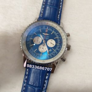 Breitling Navitimer Chronograph Blue Leather Strap Watch