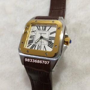 Cartier Santos 100 Golden Bezel Leather Strap Swiss Automatic Watch
