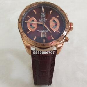 Tag Heuer Grand Carrera Calibre 17 Brown Dial Leather Strap Chronograph Men's Watch