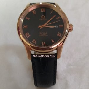 Omega De Ville Rose Gold Leather Strap Automatic Watch