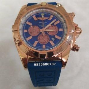 Breitling Chronometer Blue Rose Gold Watch