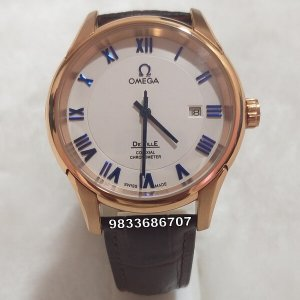 Omega De Ville Rose Gold Leather Strap White Dial Swiss Automatic Watch