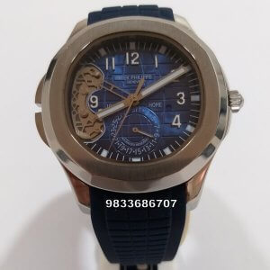 Patek Philippe Aquanaut Blue Dial Rubber Strap Steel Swiss Automatic Watch
