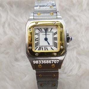Cartier Santos Gold Bezel Women's Watch
