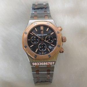 Audemars Piguet Royal Oak Rose Gold Bezel Black Dial Chronograph Women's Watch