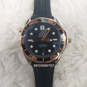 Omega Seamaster Diver Professional Rose Gold Bezel Rubber Strap Swiss Automatic Watch