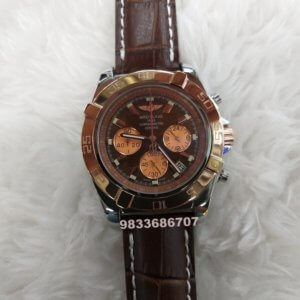 Breitling Chronometer Rose Gold Brown Leather Strap Watch