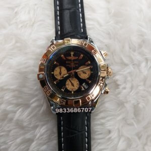 Breitling Chronometer Rose Gold Black Leather Strap Watch