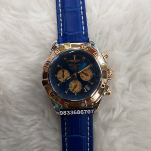 Breitling Chronometer Rose Gold Blue Leather Strap Watch