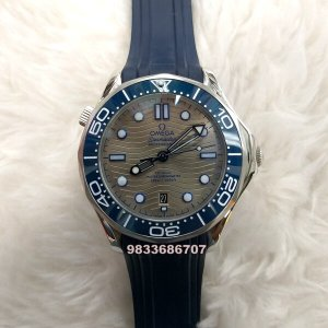 Omega Seamaster Diver Professional Steel Bezel Blue Rubber Strap Swiss Automatic Watch