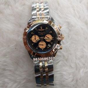 Breitling Chronometer Dual Tone Black Dial Chronograph Watch