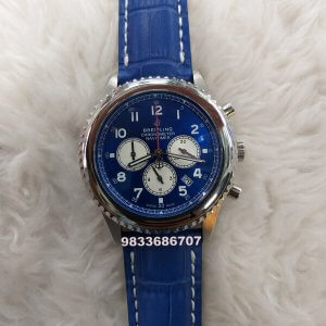 Breitling Chronometer Navitimer Blue Leather Strap Watch