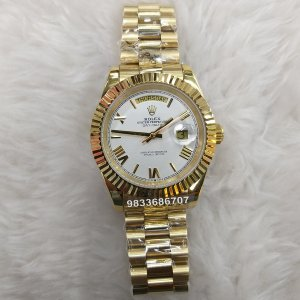 Rolex Day- Date Gold Roman Marking Swiss ETA 3135 Valjoux Automatic Watch
