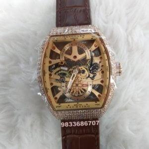 Franck Muller Vanguard Skeleton Tourbillon Rose Gold & Diamond Swiss Automatic Brown Leather Watch