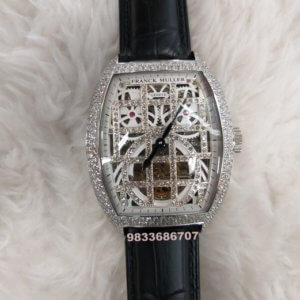 Franck Muller Vanguard Skeleton Tourbillon Silver & Diamond Swiss Automatic Black Leather Watch