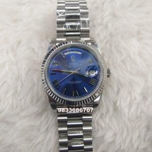 Rolex Day-Date Roman Blue Dial Swiss ETA 3135 Valjoux Movement Watch