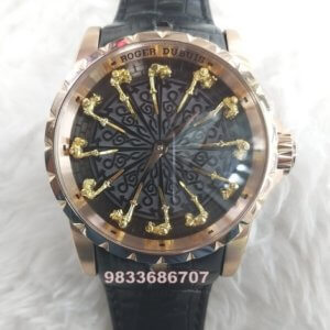 Roger Dubuis The Knights Of The Round Table Rose Gold Black Dial Swiss ETA 2250 Valjoux Automatic Watch