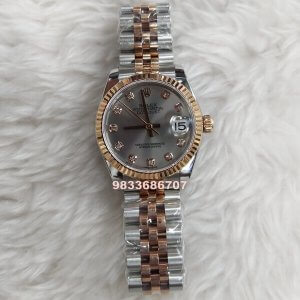 Rolex Date Just Diamond Dual Tone Swiss ETA 7750 Valjoux Movement Automatic Women's Watch