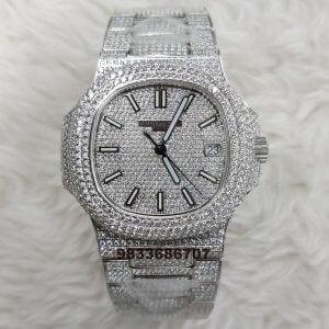 Patek Philippe Nautilus Silver Diamond Swiss ETA Caliber 324 Movement Automatic Watch