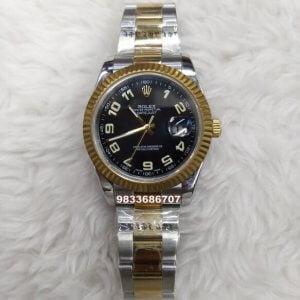 Rolex Date Just Dual Tone Numeric Black Dial Swiss ETA 7750 Valjoux Movement Automatic Watch