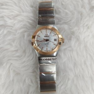 Omega Constellation Double Eagle Rose Gold Bezel Swiss ETA Valjoux 2250 Movement Automatic Women's Watch