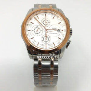 Tissot Couturier 1853 Tachy Chronograph White Dial Dual Tone Men's Watch