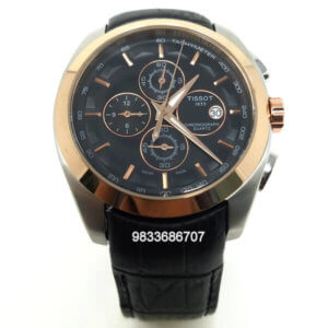 Tissot Couturier 1853 Chronograph Rose Gold Black Leather Strap Men's Watch