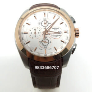 Tissot Coutrier 1853 Chronograph Rose Gold Brown Leather Strap Men's Watch