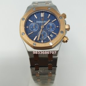 Audemars Piguet Royal Oak Rose Gold Bezel Black Dial Chronograph Women's Watch