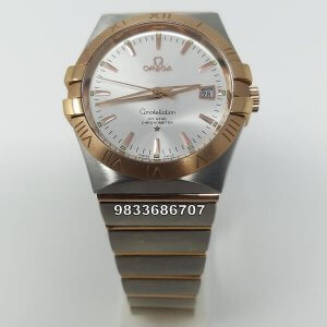 Omega Constellation Double Eagle Rose Gold Bezel Swiss ETA Valjoux 2250 Automatic Movement watch