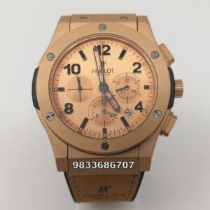 Hublot Vendom 3 Chronograph Rose Gold Brown Leather Strap Men's Watch