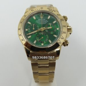 Rolex Cosmograph Daytona Full Gold Green Dial Swiss ETA 7750 Valjoux Movement Automatic Watch