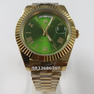 Rolex Day-Date Roman Marking Gold Green Dial Swiss Automatic Watch